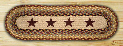 BRAIDED JUTE STAIR TREAD SETS. OVAL COUNTRY STAIR TREADS. STARS/BROWN/CREAM