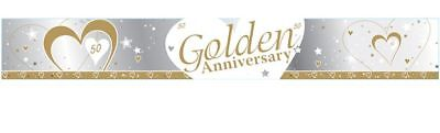 9ft Golden Anniversary Foil Banner Gold 50 Years 50th Wedding Party Decoration