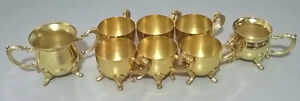 Miniature Brass Footed Cups, Sugar and Creamer Set
