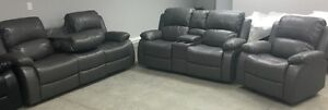 New Grey reclining console love seat, drop table sofa, recliner