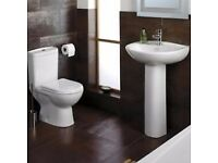 Basin and Toilet Suite with Short Projection at £169