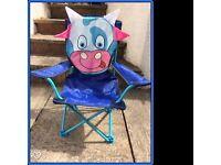 Kids camping/beach/garden folding picnic chair - cute cow