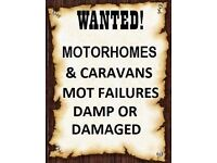 Wanted moter homes campers touring caravans