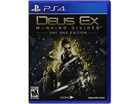 Deus Ex Mankin Divided PS4 UNUSED DAY ONE CODE