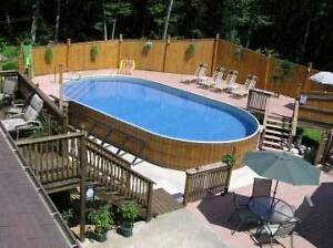 Above ground pool with stairs under the liner