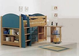 Mid Sleeper Cabin Bed with Chest of Drawers