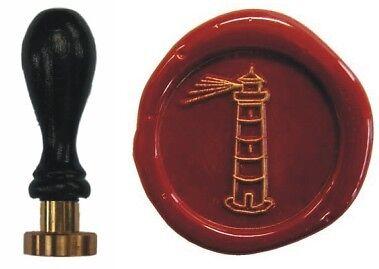 Udig Siegel Stempel Petschaft Leuchtturm 24 mm Siegelstempel Buchenholzgriff
