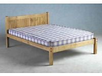 PINE - Double Bed Frame With Slats - No Mattress