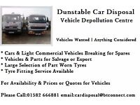 Dunstable Car Disposal - Used Vehicle Spares - Part Worn Tyres -