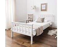 BOXED: Single Bed in White 3ft Single Bed Wooden Frame WHITE Dorset