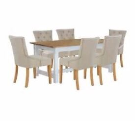 **BRAND NEW**Dining Table and 6 or 4 Upholstered Chairs