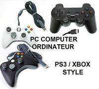 MANETTE USB ORDINATEUR PC LAPTOP WIRED CONTROLLER XBOX PS3 STYL