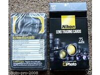 Nikon lens trading cards, brand new & sealed, collectors item
