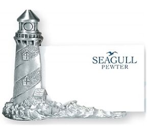 Seagull Pewter Lighthouse Business Card Holder