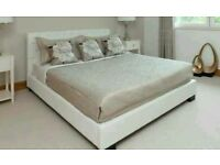 White faux leather double bed ( incl mattress)