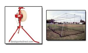 Baseline Pitching Machine & Batting Cage Kit 40' #21 Knotted Nylon With L Screen
