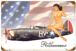 p47 Thunderbolt Nose Art Vintage Wall Sign. New!