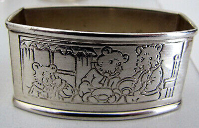 WEBSTER CHILD'S STERLING SILVER NAPKIN RING GOLDIE LOCKS & THE 3 BEARS CUTE !!!