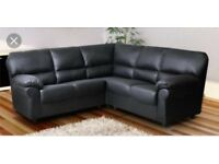 NEW LEATHER CORNER SOFA black and brown