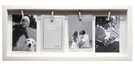 2 x rustic wooden peg open box photo picture frames in white (23cm x 53cm)