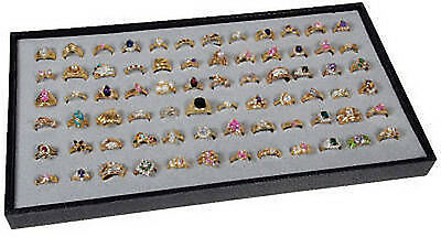 72 Slot Gray Ring Display Travel Tray Jewelry Rings