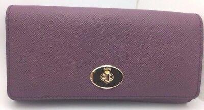 COACH~Crossgrain Leather Slim Chain Envelope Wallet Clutch~PLUM~57136E~$265~NEW!