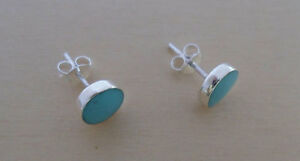 925 Sterling Silver TURQUOISE Button Stud Earrings, 6 mm Diameter