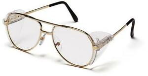 PYRAMEX PATHFINDER Clear Lens Gold Metal Retro Aviator Safety Glasses SG310A