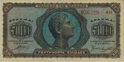 1944 Greece 50,000 Drachma Note, F-VF