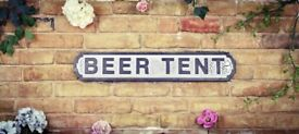 Brand New Large 15cm x 80cm vintage rustic look Beer Tent Road Sign