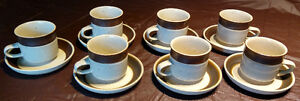 Denby Langley Russet Pattern Set of 7 Cups and Saucers