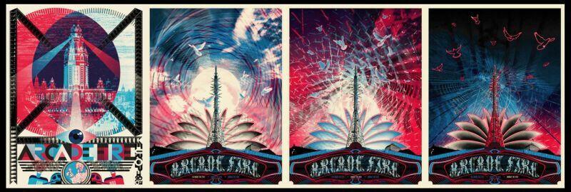2007 Wes Winship Arcade Fire Burlesque European Tour 4 poster matching # set.