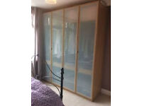 Two double Ikea Pax Oak Wardrobes with Frosted Glass Doors and Internal Shelving