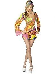 60S FLOWER POWER FANCY DRESS OUTFIT SIZE S PARTY OR HEN DO MISSING THE HEADBAND