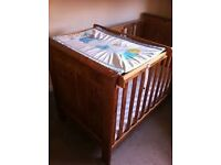 "John Lewis ""Cathedral arch"" Cot Bed.teething rails, BRAND NEW MATTRESS. toddler bed.DELIVERY"