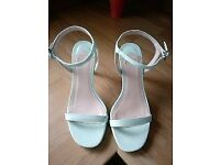Faith open toe stiletto. pale mint green - size 5