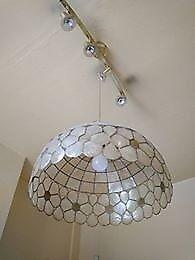 5 Lights White Brown Glass Chandelier