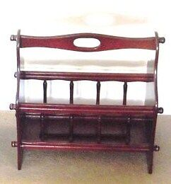 Quality Reproduction Magazine Rack in Mahogany and Fine Details.