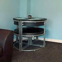 Round Black and Silver Dining Table with 4 Chairs