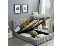 PLUSH VELVET LUCY STORAGE BED DOUBLE AND KING SIZE in grey and cream colour