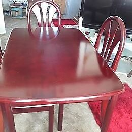 MAHOGANY TABLE& FOUR CHAIRS.