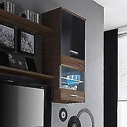 Wall Hanging Cabinet - black &brown mix & plain white with led