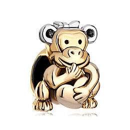 For Sale: Cute 22k Gold Plated Monkey Holding Love Heart (Fits Pandora Bracelet) BRAND NEW