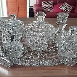 Dressing table glass set with fruit bowl.