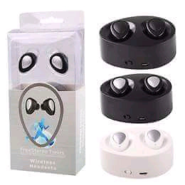True wireless double in ear buds with mic too and charging dock