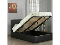 Massive Saving-Leather Ottoman Storage Bed Frame in Black Brown and White Color
