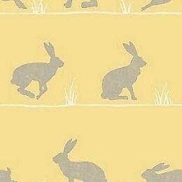 Yellow/ Mustard Rabbit Patterned Wallpaper 6 Rolls