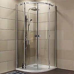 Plumbsure shower enclosure with ceramic white tray 800/800