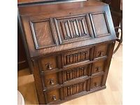 Gorgeous oak child's bureau beautifully decorated three good sized drawer