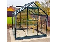 Aluminium Greenhouse Green With Toughened Glass and Base Plinth